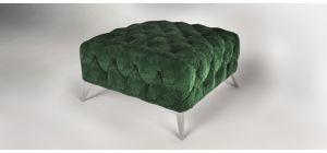Sandringham Fabric Footstool Green