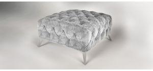 Sandringham Fabric Footstool Grey