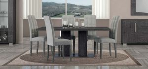 Sarah Grey Birch 1.8m Dining Table With Six Grey Upholstered Chairs