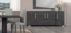 Sarah Grey Birch Four Door Buffet Cabinet Sideboard With Sliding Door Assembled