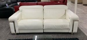 Bocelli Electric Recliner Semi Aniline Leather Sofa 3 Seater White Showroom Model 6139