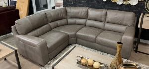 Lucca Semi Aniline Leather Corner Sofa LHF Mushroom Showroom Model 6137