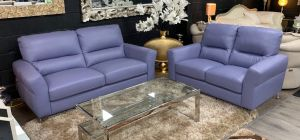 Winona Lavender Semi Aniline Newtrend 3 + 2 Leather Sofa Set With Chrome Feet, Available for delivery in 8 weeks