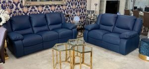 Virginia Blue Semi Aniline Electric 3 Seater Newtrend Recliner Plus 2 Static Sofa, Available for delivery in 8 weeks