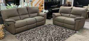 Douglas Electric 3 Seater Recliner and 2 Seater Static Semi Aniline Leather Sofa Set Cappuccino Brown New Trend Concepts