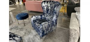 Accent Blue And Silver Designer Fabric Armchair With Chrome Legs