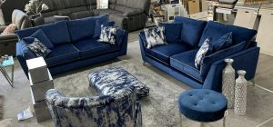 Coro Fabric Sofa Set 3 + 2 Seater Blue Plush Velvet With Contrast Piping And Scatter Cushions