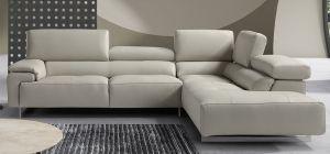 Wish Light Grey New Trend Italian Semi Aniline Leather Corner Sofa With Adjustable Headrests RHF