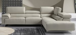 Wish Light Grey Newtrend Italian Semi Aniline Leather Corner Sofa With Adjustable Headrests RHF, Other colours available, Available for delivery in 8 weeks