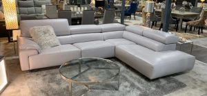 Blossom Grey Newtrend Italian Electric Recliner Semi Aniline Leather Corner Sofa With Adjustable Headrests RHF, Other colours available, Available for delivery in 8 weeks