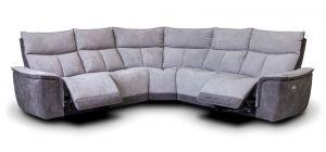 Stefi Electric Recliner Fabric Corner Sofa 2C2 Metal Dark Grey With USB Ports