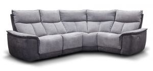 Stefi Electric Recliner Fabric Corner Sofa RHF Metal Dark Grey With USB Ports
