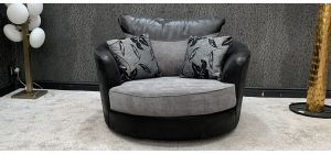 Zina Fabric Armchair 1 Seater Grey And Black Swivel Armchair 46759