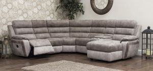Uber Recliner Fabric Corner Sofa 2C2 Brown And Grey With Drinks Console (Modular Available)