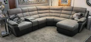Uber Recliner Fabric Corner Sofa 2C2 Smoke Grey With Drinks Console (Modular Available)