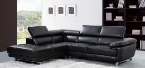 Valencia Midnight Black Leather Corner Sofa Left Hand Facing Delivery in 12 Weeks