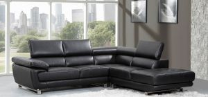 Valencia Midnight Black Leather Corner Sofa Right Hand Facing Delivery in 12 Weeks