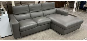 Vertigo Semi Aniline Leather Corner Sofa RHF Grey With Adjustable Headrests Ex-Display New Trend