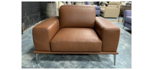 Villeneuve Semi Aniline Leather Armchair 1 Seater Brown New Trend With Sliding Out Seating And Adjustable Headrests