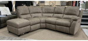 Virginia Electric Recliner Fabric Corner Sofa LHF Mushroom Wipeable Microfibre USB With One Power Chair And Storage Chaise