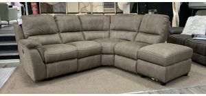 Virginia Electric Recliner Fabric Corner Sofa RHF Mushroom Wipeable Microfibre USB With One Power Chair And Storage Chaise