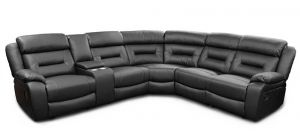 Xena Recliner Leathaire Corner Sofa Black 2C2 with Drinks Holder