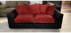 Zina Fabric Sofa 3 Seater Black And Red Damaged Ex-Display Showroom Model