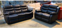 Roma Brown Bonded Leather 3 + 2 Sofa Set Manual Recliner Drinks Holder Ex-Display Showroom Model 46905