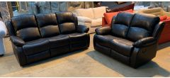 Somerton Black Leathaire 3 + 2 Sofa Set Manual Recliners Ex-Display Showroom Model 46906 (no warranty)