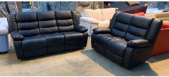 Roma Black Bonded Leather 3 + 2 Sofa Set Manual Recliner Drinks Holder Few Small Scuffs (see images) Ex-Display Showroom Model 46909