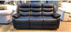 Roma Black Bonded Leather Large Sofa Manual Recliner Drinks Holder - 2cm Rip On Left Cushion - 1cm Tear On Drinks Holder - Scuffs On Top Back (see images) Ex-Display Showroom Model 46911