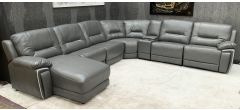 Henry Grey 3C2 Chaise Leathaire Corner Sofa Manual Recliner With Drinks Holders Ex-Display Showroom Model 46918