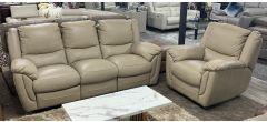 Fedra New Trend 3 + 1 Beige Leather Manual Recliner Sofa Set - Ex-Display Showroom Model 47109