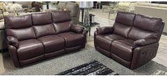 Capri Wine 3 + 2 Leather Manual Recliner Sofa Set