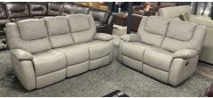 Harvey Grey Leather 3 Seater Electric With 2 Seater Manual Recliner Sofa Set - Ex-Display Showroom Model 47113