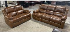 Valencia Tan Bonded Leather 3 + 2 Sofa Set Manual Recliner Ex-Display Showroom Model 47117