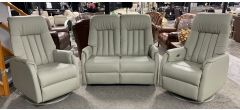 St Tropez 2 + 1 + 1 Cream Regular Semi-Aniline Leather Sofa With Two Swivel Chairs Plus Electric Recliners