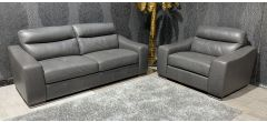 Venezia Grey Leather 3 + Loveseat Sofa Set Sisi Italia Semi-Aniline With Wooden Legs Ex-Display Showroom Model 47320