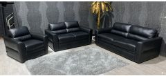 Black Leather 3 + 2 + 1 Sofa Set Sisi Italia Semi-Aniline Ex-Display Showroom Model 47322