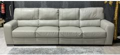 Lucca Beige 5 Seater Sisi Italia Semi-Aniline Leather Sofa With Gold Stitching And Wooden Legs Ex-Display Showroom Model 47323