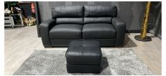 Strand Black Leather 3 Seater + Footstool With Wooden Legs Ex-Display Showroom Model 47324