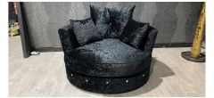 Large Black Fabric Studded Swivel Chair Ex-Display Showroom Model 47331