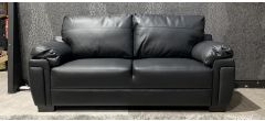 Black Bonded Large Leather Sofa Ex-Display Showroom Model 47332