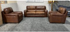 Lucca Brown Leather 3 + 1 + 1 Sofa Set Sisi Italia Semi-Aniline With Wooden Legs - Colour Faded Few Scuffs (see images) Ex-Display Showroom Model 47520
