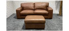Tan Leather 3 Seater + Footstool Sisi Italia Semi-Aniline With Wooden Legs - Scuffs On Both Sides (see images) Ex-Display Showroom Model 47528
