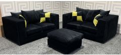 Nero Black Fabric 2 + 2 + Footstool With Scatter Cushions - 50Cm Rip On Rear (see images) Ex-Display Showroom Model 47529