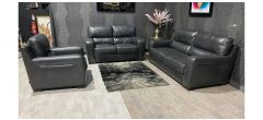 Lucca Dark Grey Leather 3 + 2 Static Sofa Set With Electric Recliner Sisi Italia Semi-Aniline With Wooden Legs Ex-Display Showroom Model 47541