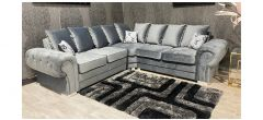 Verona Grey 2C2 Fabric Corner Sofa Plush Velvet With Chrome Legs And Scatter Back Ex-Display Showroom Model 47544
