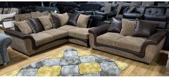 Aston Brown And Beige RHF Fabric Corner + 2 Seater With Scatter Back Ex-Display Showroom Model 47678