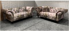 Anna Shout Patterned Fabric 2 + 2 Sofa Set With Wooden Legs Ex-Display Showroom Model 47687